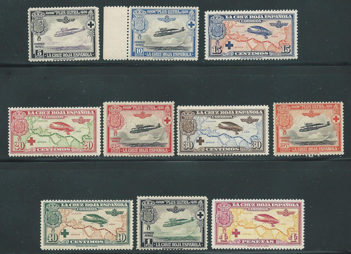 Spain 1926 - Red Cross Airmail complete set - Edifil 339/348