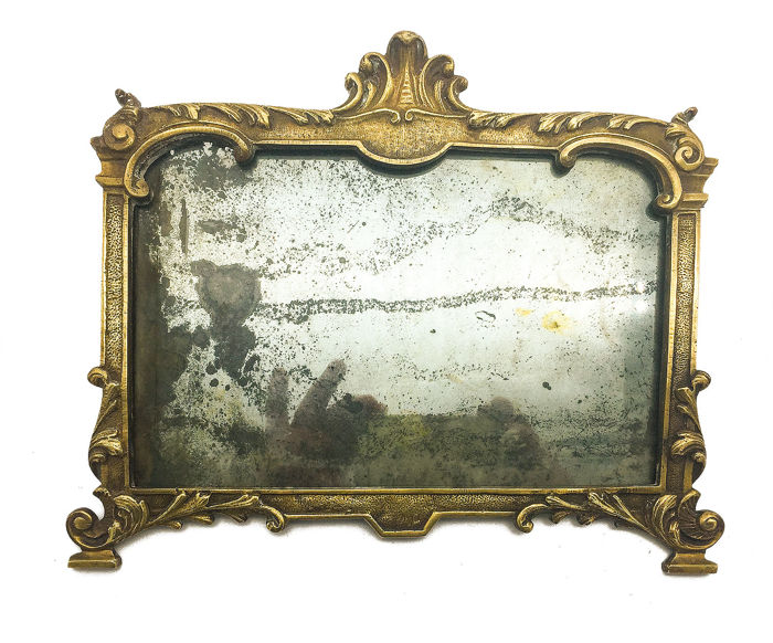 Bronze frame with lead mirror (1) - Neoclassical - Bronze - First half 19th century