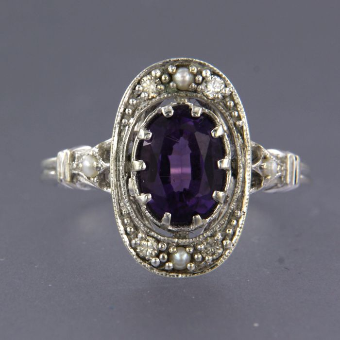 14 quilates Oro blanco - Anillo - 1.20 ct Amatista - Diamante, Perla