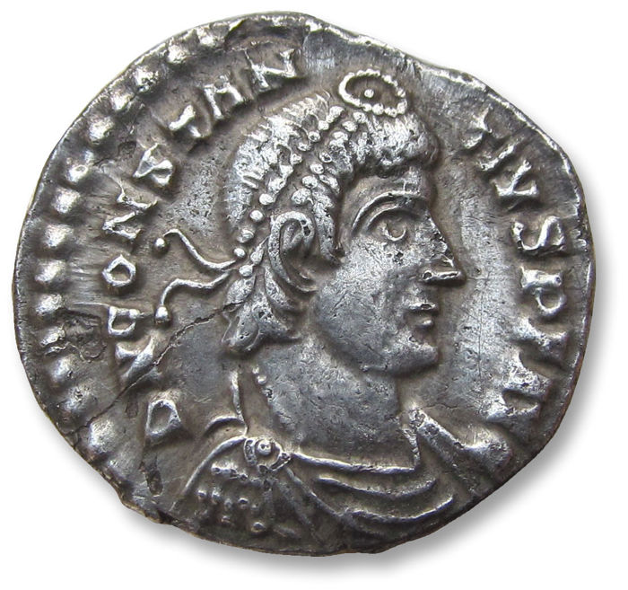 Roman Empire - AR Siliqua, Constantius II.  Lugdunum (Lyon) mint circa 353-361 A.D. - LVG in exergue, officially recorded detector find - Silver