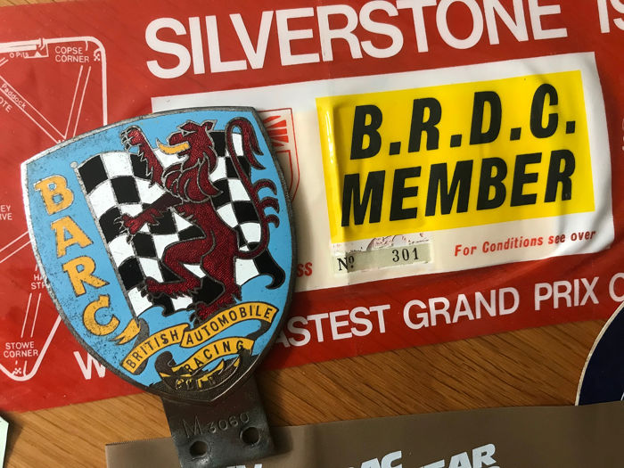 BARC 1960s Original Car Badge and car  Passes  - BARC 1960s Original Car Badge and car  Passes  - 1965-1989