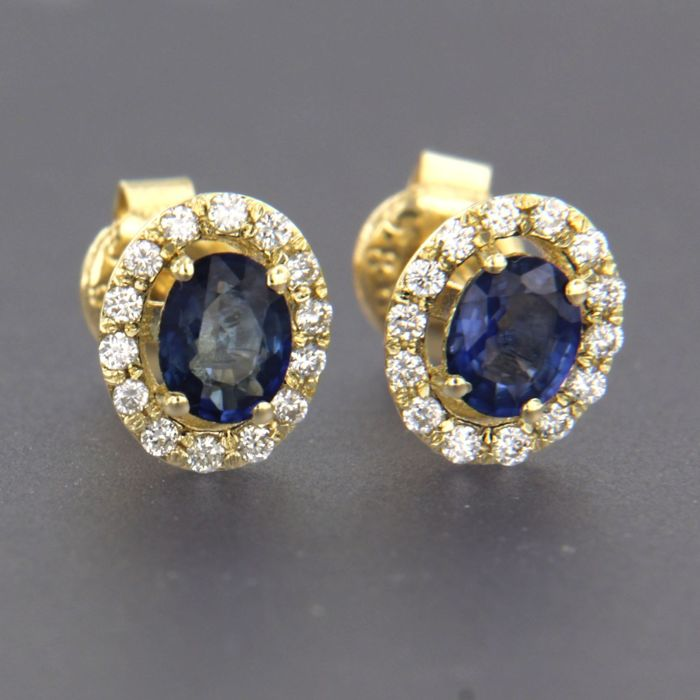 14 quilates Oro amarillo - Pendientes - 0.76 ct Zafiro - Diamante