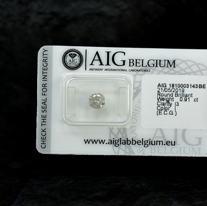 Diamant - 0.91 ct - Brillant - I - I3 - NO RESERVE PRICE - EXC/G/G