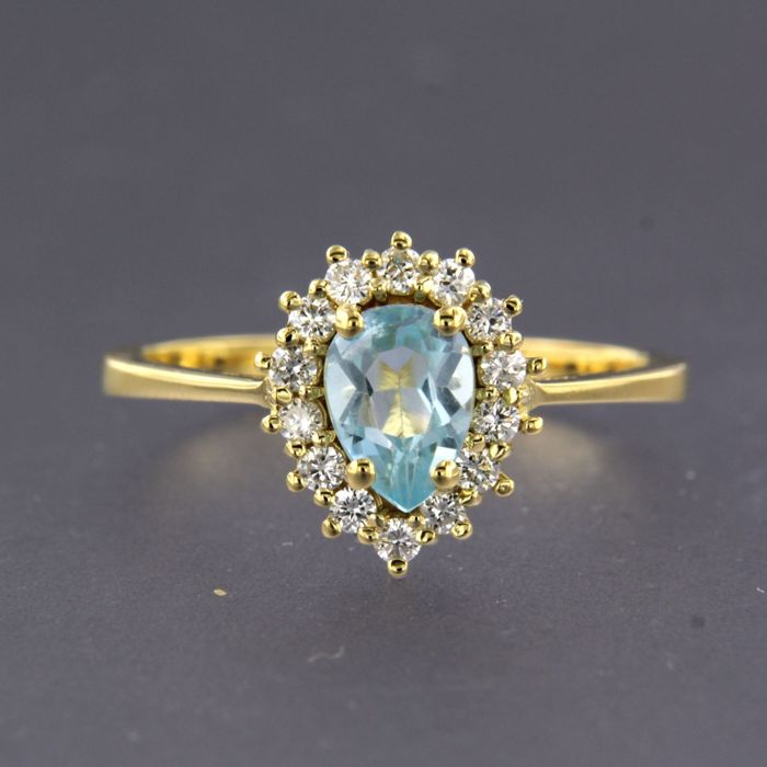 18 quilates Oro amarillo - Anillo - 0.24 ct Diamante - Topacio