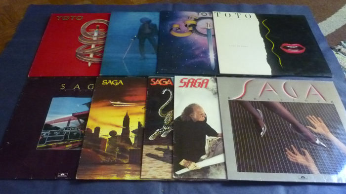 Saga, Toto - 9 albums of this famous bands - Multiple titles - LP's