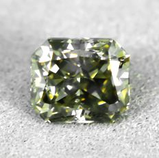 Diamant - 1.02 ct - Radiant - Natural Fancy Light Yellowish Grey - SI2