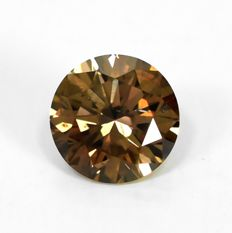Diamond - 0.46 ct - brylantowy - Natural Fancy Intense Brown (Cognac) - Si1 - EXC/VG/VG