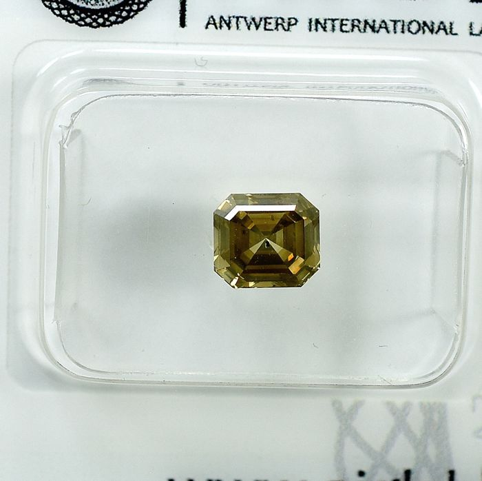 Diamant - 1.01 ct - Émeraude - Natural Fancy Intense Brownish Yellow - Si1 - NO RESERVE PRICE - VG/VG