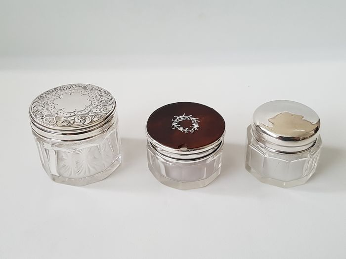 Three Small Victorian Crystal Cosmetic Jars  - Silver - 1871