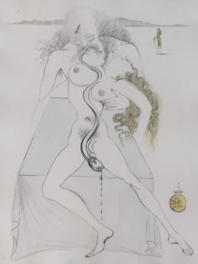 "Salvador Dalí- From Suite: "" Illustre Casanova - L' Amour Sommelier (Nude Couple, Large Serpent)"