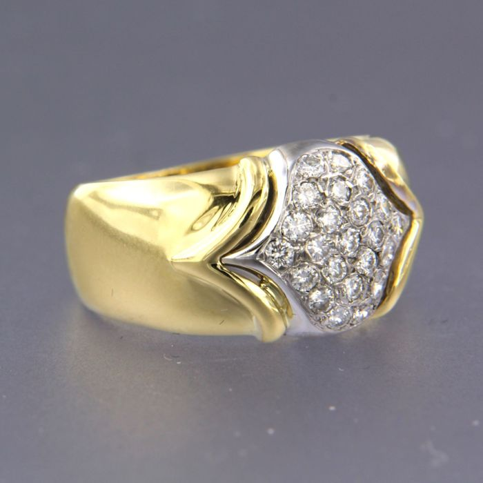 18 karaat Geel goud, Witgoud - Ring - 0.40 ct Diamant