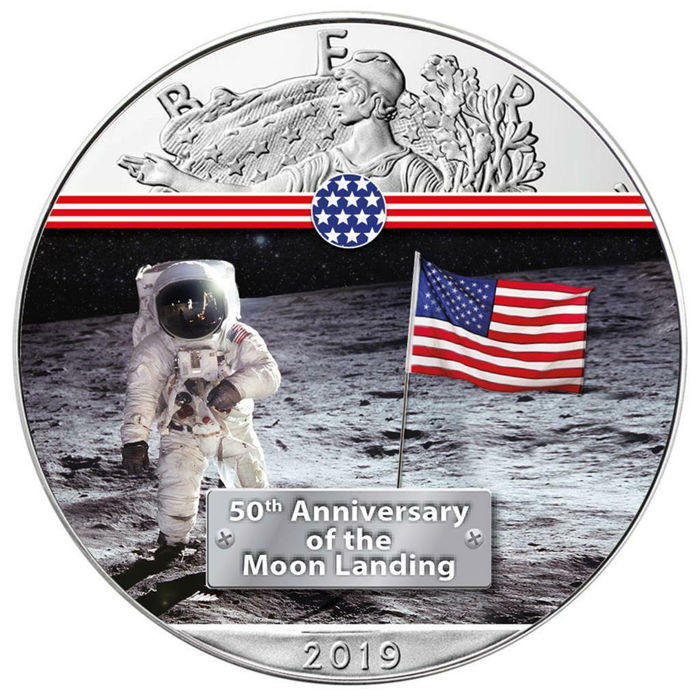 VS - 1 Dollar 2019 - Silver Eagle - First Man on the Moon (2.) - 1 Oz - Zilver