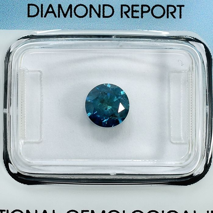 Diamond - 1.00 ct - Brilliant - Fancy Blue - I2