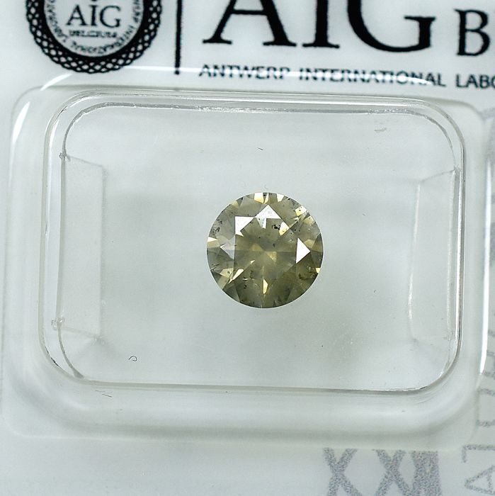 Diamant - 1.05 ct - Brillant - Natural Fancy Yellow-Brown - I1 - NO RESERVE PRICE - EXC/EXC/EXC