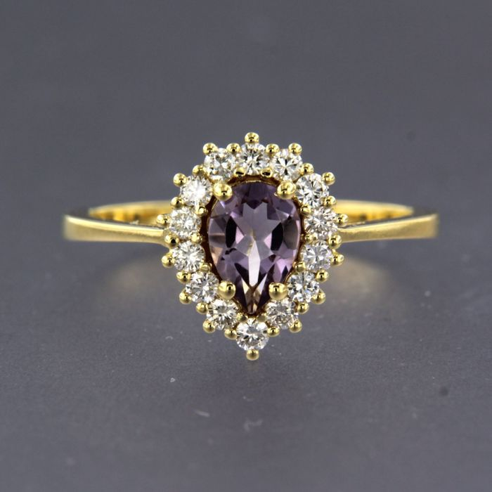 14 quilates Oro amarillo - Anillo - 0.32 ct Diamante - Amatista