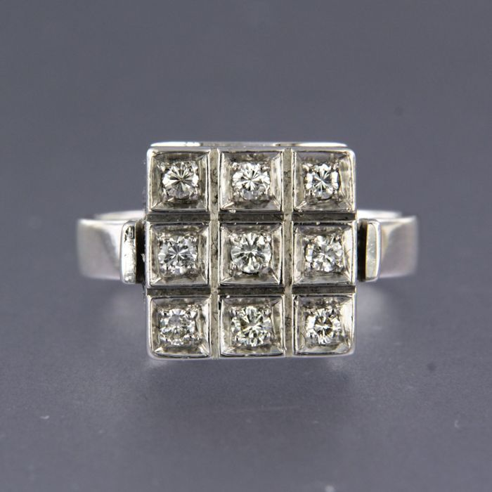 14 quilates Oro blanco - Anillo - 0.45 ct Diamante