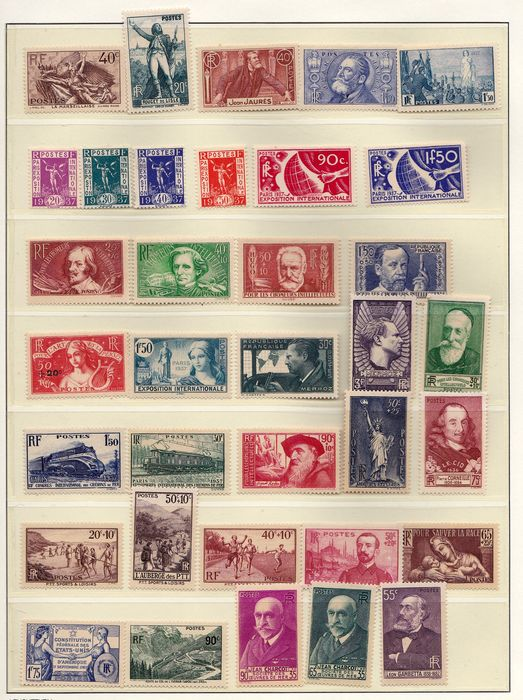 Frankreich 1936/1937 - Nice selection of MNH stamps 1936 1937 - Yvert entre # 314 et 418