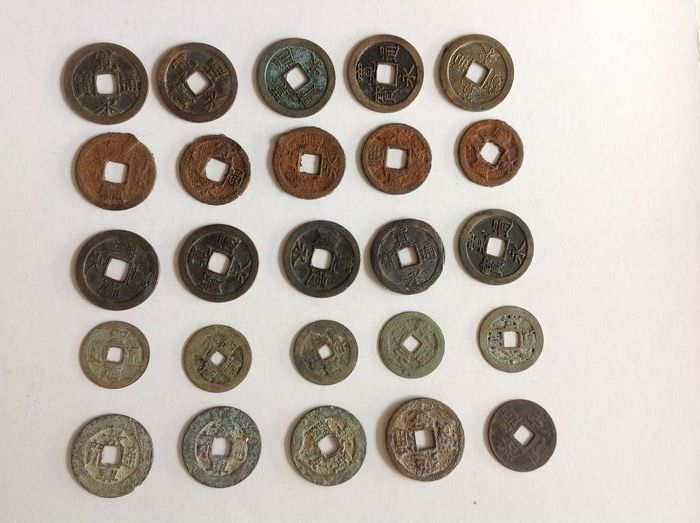 Giappone, Vietnam - Annam - Lot comprising 25  AE and FE cash coins - ca 11th-16th century, some Anpo-te or Anpo Styl and Rebellion