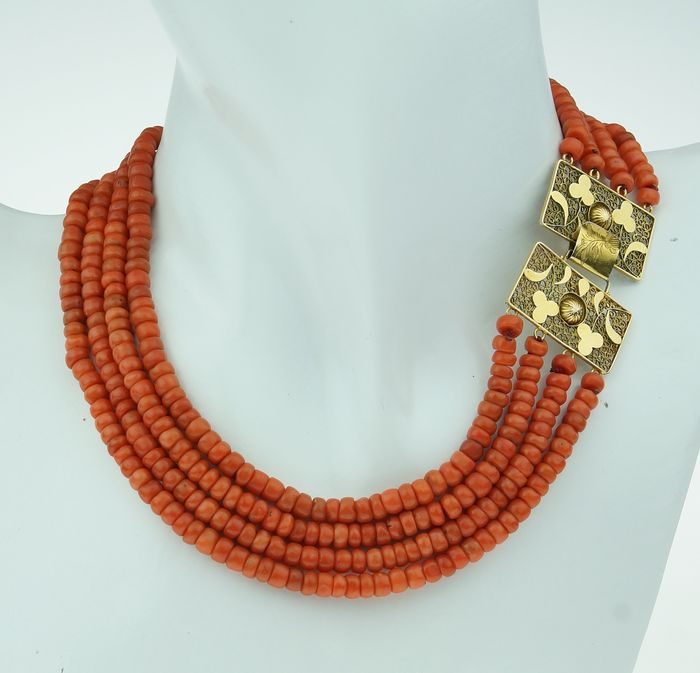 Vintage - 14 kt. Yellow gold - Necklace Blood coral