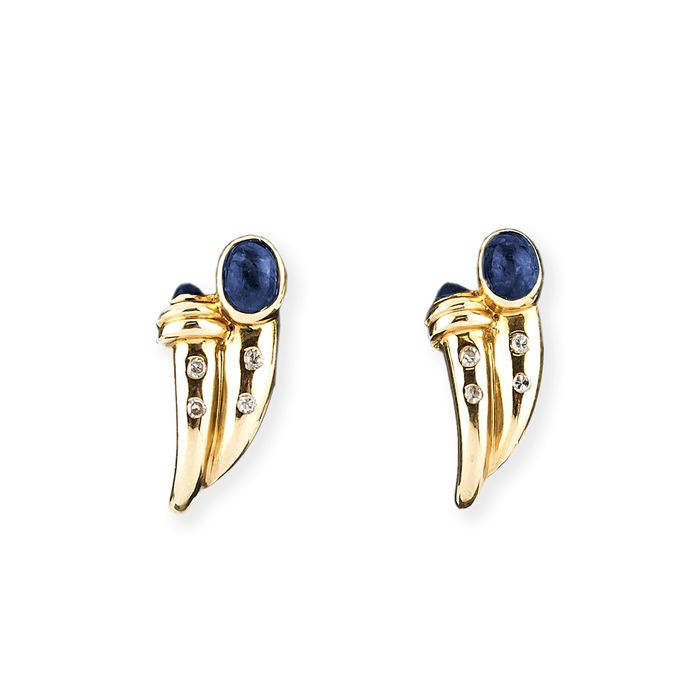 18 kt. Gold, Yellow gold - Earrings - 0.60 ct Sapphire - Diamond