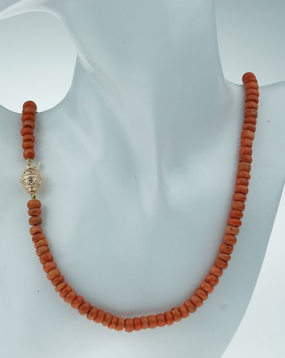 Gouden slot - 14 kt. Yellow gold - Necklace Blood coral
