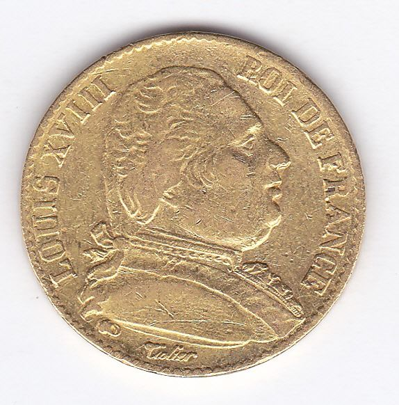 France - 20 Francs 1814 K (Bordeaux) Louis XVIII  - Or