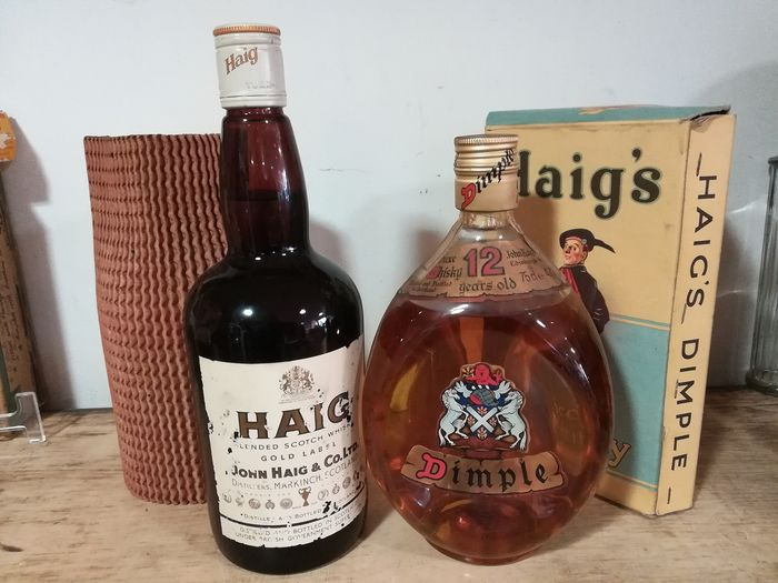 Haig Gold Label & Dimple 12 years old  Gold label - Haig´s - b. 1970/80s - 75cl - 2 bottles
