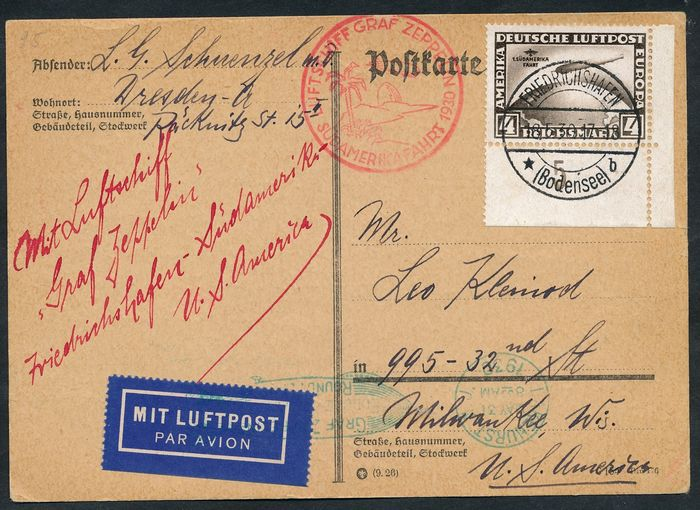 "Duitse Rijk - 4 marks ""South America Flight"" zeppelin post from the right corner margin on a card to the USA - Michel Nr. 439"