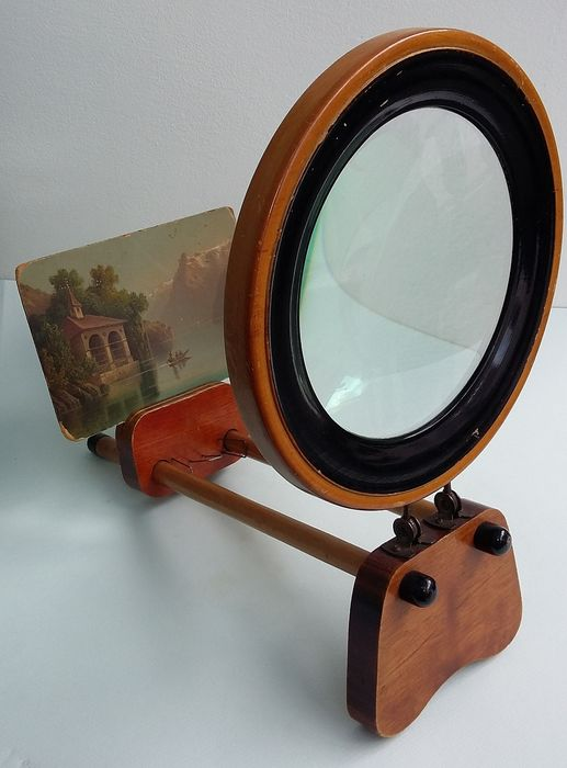 Map photo photo postcard painting - viewer - viewer - loupe - Wood, glass, paper