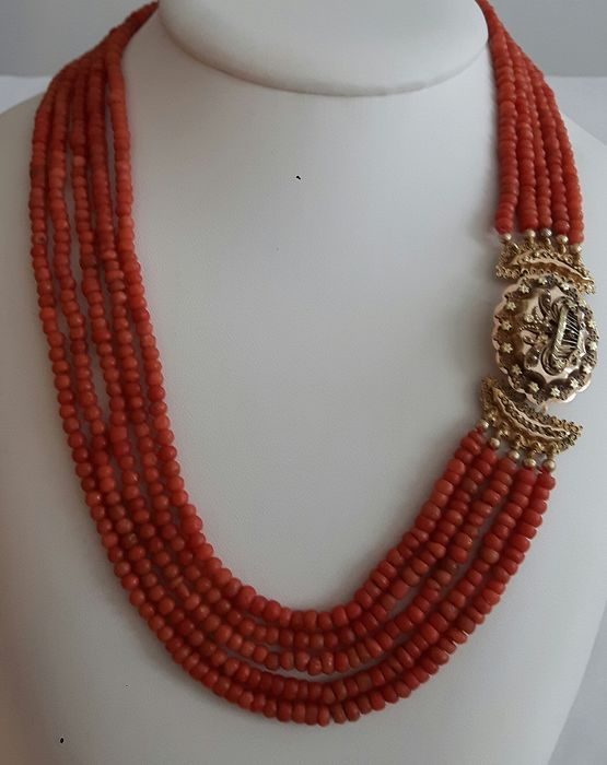 14 kt. Gold - Necklace - Blood coral