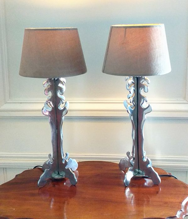 Pair Of Italian Palm Tree Table Lamps Contemporary