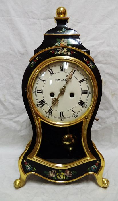 boulle clock with hand-painted floral patterns - Wood - mid 20th century