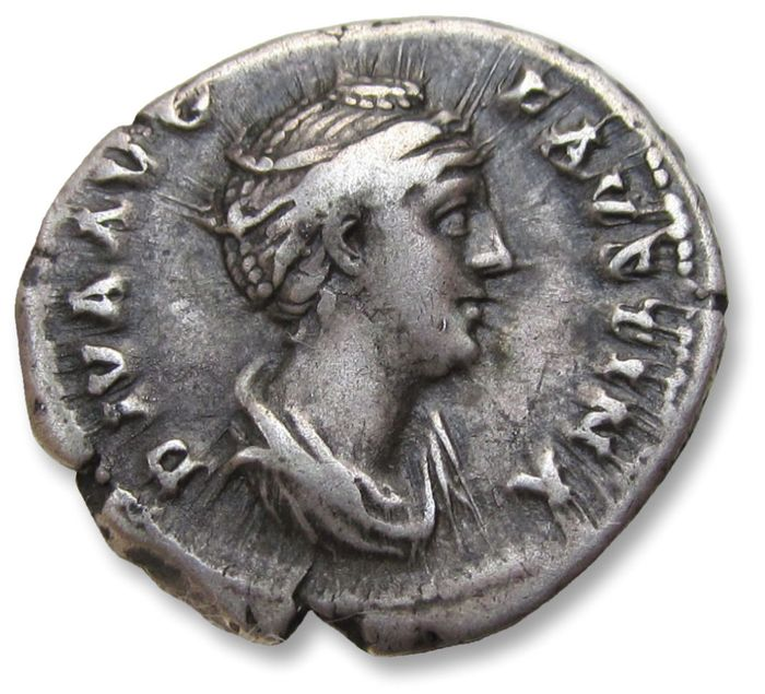 Roman Empire - AR Denarius, struck under Antoninus Pius, Faustina Senior, Rome after 141 A.D. - AVGVSTA, Ceres standing left - Silver