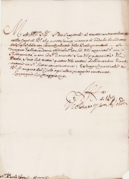 Princess Violante Beatrice of Baviera ( Ferdinando de' Medici Wife ) - Autograph; Signed Letter for Birth Male Child Uggeri's Family from Lappeggio - 1719