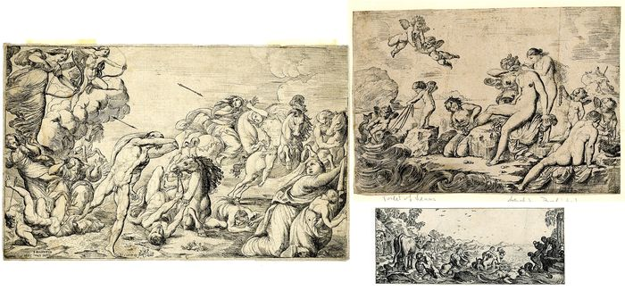 Pierre Brebiette  ( by or after) - 3 Prints: Apollo, Diana & Niobids; Toilet of Venus;  mythological scene
