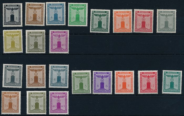 Imperio alemán 1938/1944 - Official stamps, eagle on pedestal, with and without watermark - Michel No. 144/154 & 155/65