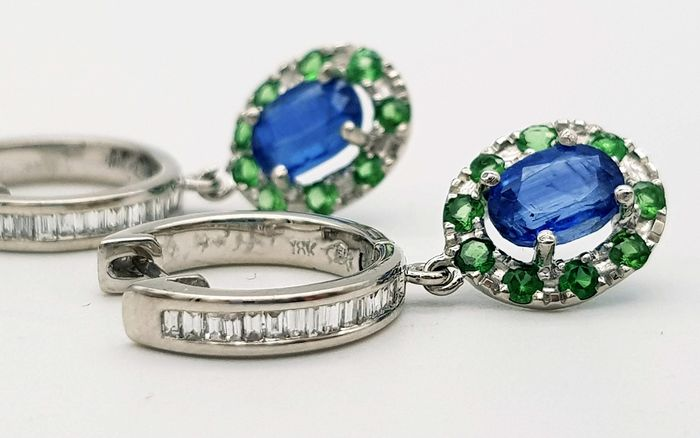 18 carats Or blanc - Boucles d'oreilles - 2.10 ct Cyanites - Diamants, Tsavorites