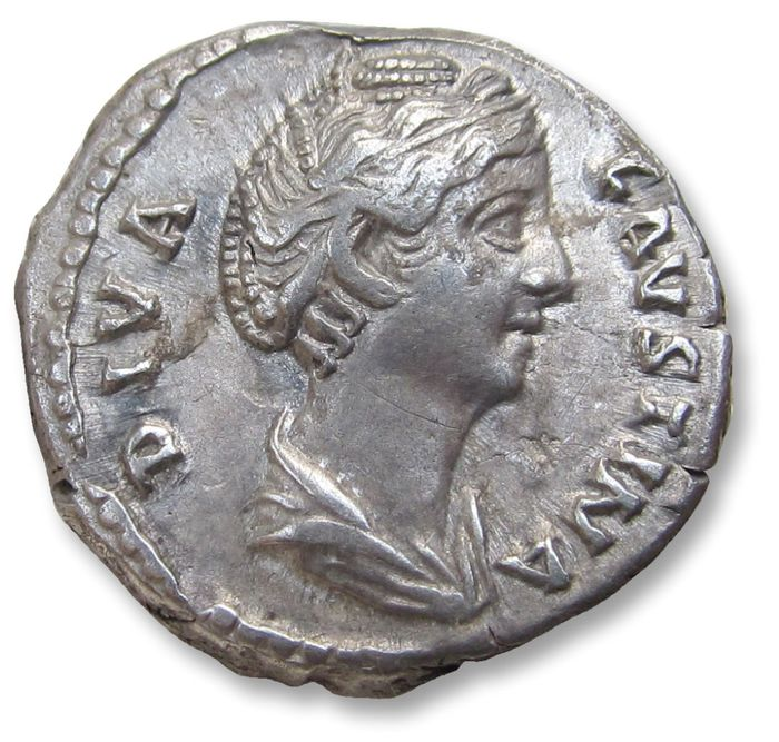 Roman Empire - AR Denarius, struck under Antoninus Pius, Faustina Senior, Rome after 141 A.D. - AVGVSTA, Vesta standing left - Silver