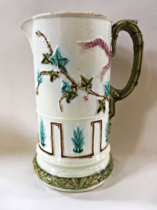 Antique modernist earthenware jug, with color decoration. - Art Deco - Ceramic