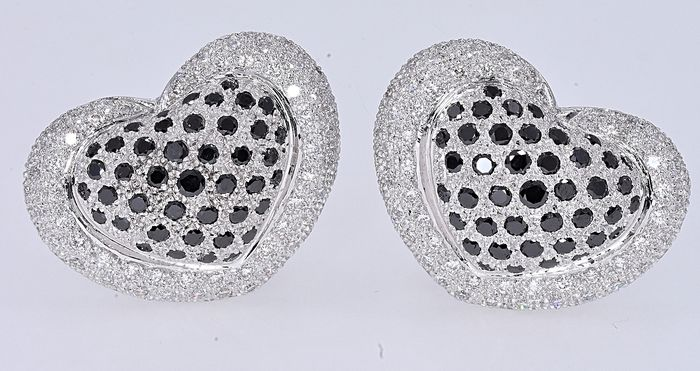 18 kt. White gold - Earrings 4.10 ct Diamond