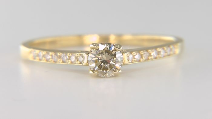 14 kt. Yellow gold - Ring - 0.40 ct Diamond - Diamonds