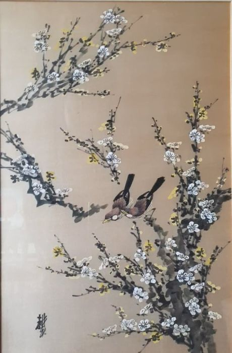 Silk painting (1) - Floral - Silk - Animal - Chirping birds on spring blooming tree! - China - First half 20th century