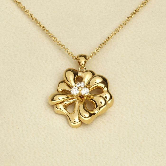 Leo Pizzo - 18 kt. Gold - Necklace with pendant - 0.16 ct Diamond