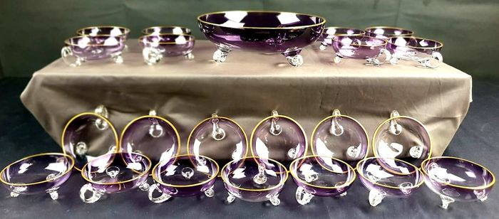 service in purple crystal with pure gold edging - Art Deco France - (22) - Art Deco - .999 (24 kt) gold, Crystal