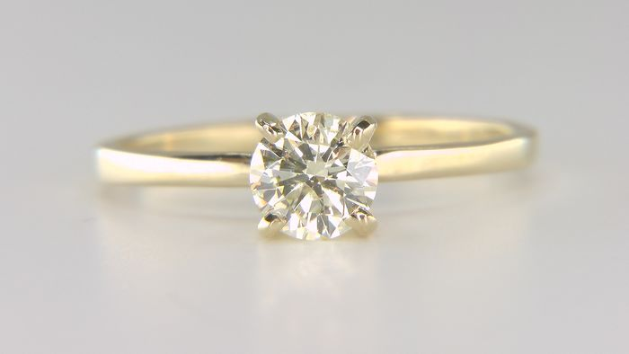 14 kt. Yellow gold - Ring - Clarity enhanced 0.63 ct Diamond - Natural fancy light yellow SI1!