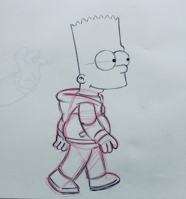 The Simpsons - Bart Simpson - Original Animation art Drawing ( 28 x 35 cm ) - With COA