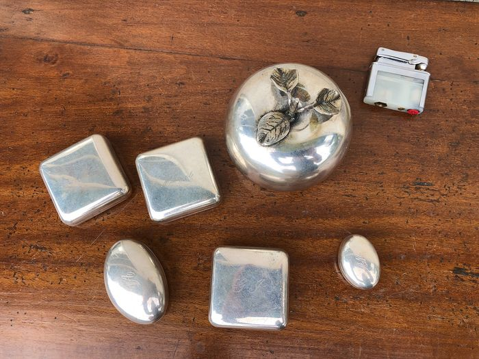 cans - apple lighter (6) - .800 silver - Italy - Late 20th century