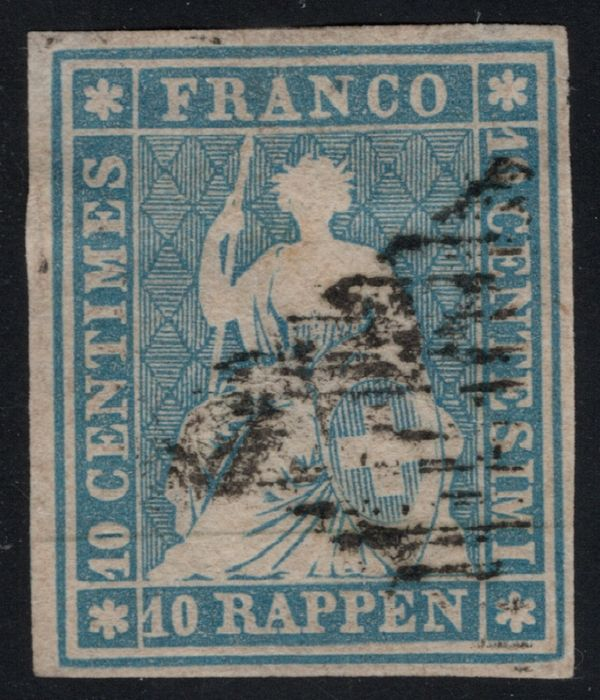 "Suisse 1854 - ""Sitting"" Helvetia, imperforate; Munich print from the 3rd printing period, flawless, expertised - Zumstein/SBK Nr. 23A; Michel 14Ib"