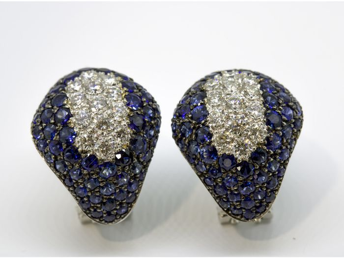 18 kt. White gold - Earrings - 1.04 ct Diamond - Sapphire