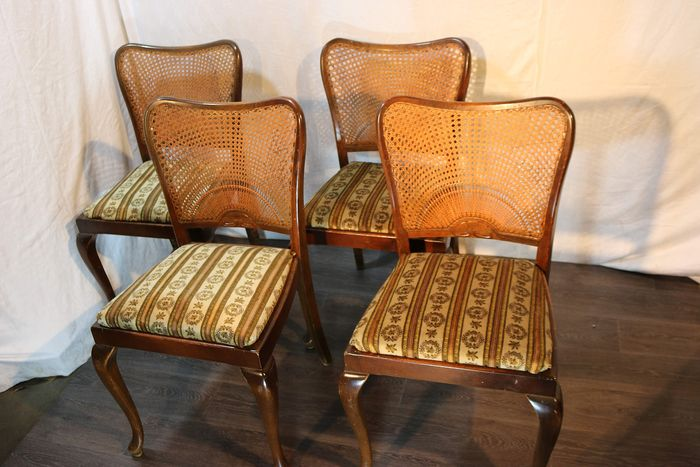 Set of four chair backrest braid and seat fabric